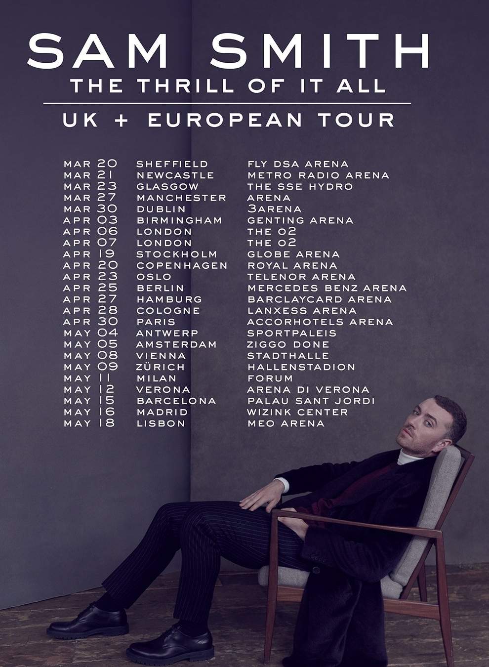sam smith tour dates 2018/2019